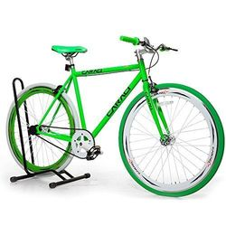 Caraci CBF5ST53WG Steel Frame Fixed Gear Bike - White/Green - Size: 53cm