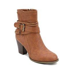 Newtown Multi Strap Buckle Ankle Booties: Brown/8.5
