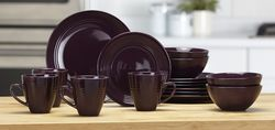 Alcove 16 Piece Embossed Stoneware Dinnerware Set - Dark Purple