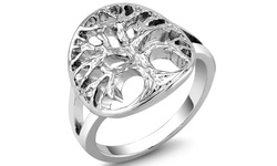 Silver-Plated Tree of Life Comfort-Fit Ring - Size: 7