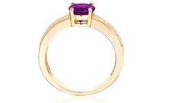 3.00 CTW Genuine Oval-Cut African Amethyst Ring - Size: 7
