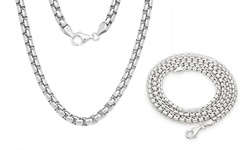 Men's Italian Sterling Silver Round Box Chain Necklaces & Bracelets - 22""