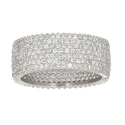 Cubic Zirconia Micro-Pav Eternity Ring in Sterling Silver - Size: 7