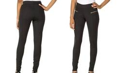 Sociology Women's Plus-Size Skinny Ponte Pant - Black - Size: 1x