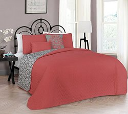 5 Piece Reversible Quilt Sets: Harper Queen/coral
