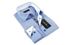 Gianni Men's Button-Down Dress Shirt - Light Blue/White Trim - Sz: S