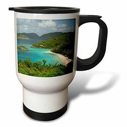 3dRose USVI, St. John, Trunk Bay, Cindy Miller Hopkins, Stainless Steel Travel Mug, 14-Oz