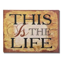 """Adeco Decorative Wood Wall Hanging Sign Plaque """"This Is The Life"""" Gold Brown Home Decor"""