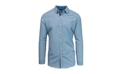 Harvic Men's Long Sleeve Slim-Fit Shirt- Checkered Royal & White - Sz: XXL