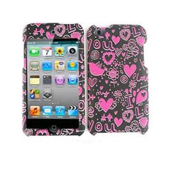 Cell Armor Snap-On Cover for iPod touch 4 - Pink Hearts / Black