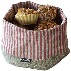 LinenMe Red Striped Linen Cotton Jazz Basket - Small