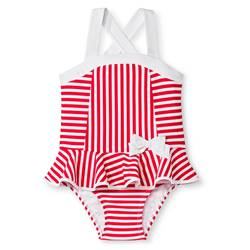 Circo Toddler Girls Stripe One-Piece Swimsuit - Beach Pink - Size: 5T