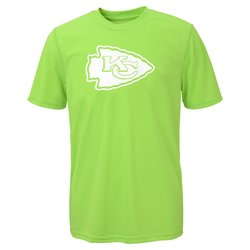 NFL Kansas City Chiefs Boys Performance T-Shirt - Neon Green - Size: S(8)