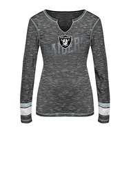 NFL Oakland Raiders Women's Split Crew Neck T-Shirt - Gray - SIze: M