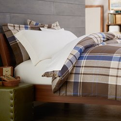 Pinzon Lightweight Cotton Flannel Sham - Brown Plaid - Size: Standard