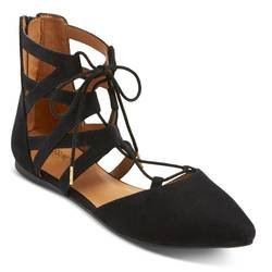 Mossimo Women's Nara Lace Up Ballet Flats - Black - Size: 7.5