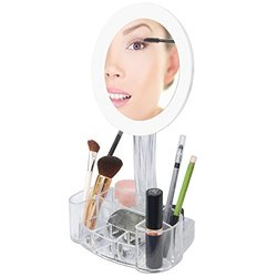 ToiletTree LED 7x Magnified Makeup Mirror with Cosmetic Organizer Base