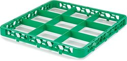 """Carlisle RE9C09 OptiClean 9 Compartment Glass Rack Extender, 5.81"""" Compartments, Green, Pack of 6"""