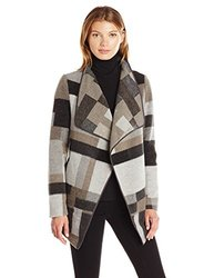 French Connection Women's Oversized Collar Jacket, Grey/Multi, XS