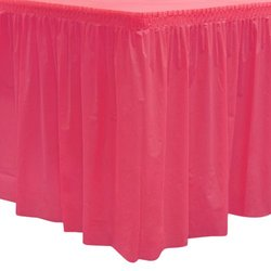 "Party Essentials Heavy Duty Plastic Table Skirt Available in 25 Colors, 29"" x 14', Hot Pink"