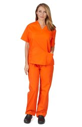 Women's Medical Scrub Set - Mandarin Orange - Size: X-Small