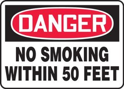 "Accuform Signs MSMK247VP Plastic Safety Sign, Legend ""DANGER NO SMOKING WITHIN 50 FEET"", 10"" Length x 14"" Width x 0.055"" Thickness, Red/Black on White"