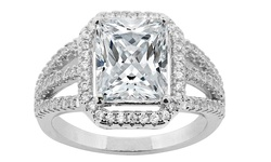 Cubic Zirconia Engagement Ring in 18K White Gold Plating - Size: 7