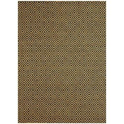 "Acura Rugs Natural Jute Collection Area Rug, 4' x 6' Feet / 48""W x 72""L, Blue and Gold Geometric, Rectangle"
