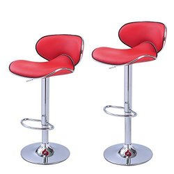 Furnistars Bareneed Modern Bar Stools with Backs (Set of two) red
