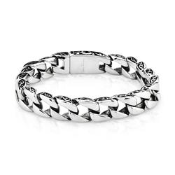 "West Coast Men's Crucible SS Two Tone Curb Chain Bracelet - Size: 8.5"""