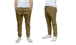 Harvic Men's Slim Fit Twill Jogger Pants - Khaki - Size: Small