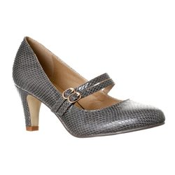 Riverberry Women's Mila Mid Heel Mary Jane Pumps - Grey Snake - Size: 9