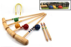 TMI Croquet Set for 4 Player with 4 Mallets and 4 Balls