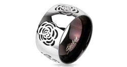 West Coast Rose Cut Out Domed Ring in Stainless Steel - Size: 10