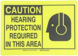 "Brady 10""x14"" ""Caution"" Legend ""Hearing Protection Required Alert Sign"