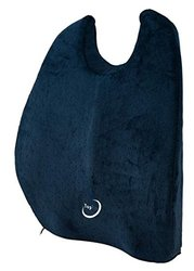 TopFit Back Cushion Lumbar Support Pillow Memory Foam With Fastening Strap Navy Blue