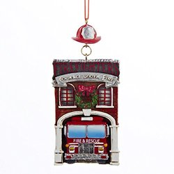 """4.25"""" Fire House with Fire Engine Truck """"FIREFIGHTERS COURAGE UNDER FIRE"""" Ornament"""