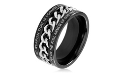 Men's Bible Verse Rings in Stainless Steel - Size: 10 - Isaiah 54:17