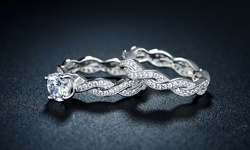 18K White Gold CZ Braided Engagement Ring Set - Size 5