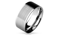 Titanium Men's Stainless Steel Comfort Fit Rings - Grooved -Size: 11mm