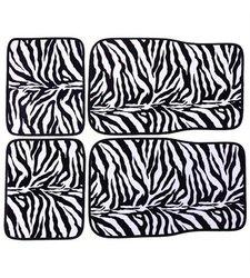 ADECO FL0119 Universal Fit Car Floor Mats 4-Piece - Zebra Pattern