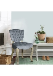 Furnistars European Tufted Microsuede Side Dining Chairs 2 Set- Light Gray