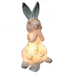 Green Pastures Wholesale Rabbit Porcelain Night Light, 3-Inch by 3-Inch by 7-Inch