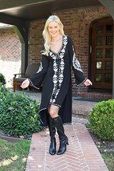 Gwyneth Embroidered Dress: Black/large