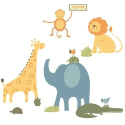 RoomMates RMK1868SLM Sapna Zoo Animals Peel and Stick Giant Wall Decals