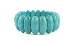 Genuine Turquoise Stretch Bracelet - Oblong-Cut
