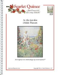 Scarlet Quince HAS003lg In the Garden by Childe Hassam Counted Cross Stitch Chart, Large Size Symbols
