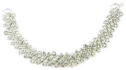 "Mode Beads Asymmetrical Rhinestone Connector Crystal -Silver - Size: 7.5"""