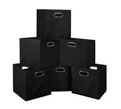 Niche Cubo Set of 6 Foldable Fabric Storage Bins- Black