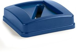 Centurian 23 gal. Blue Square Trash Can Paper Recycling Lid (Pack) 4